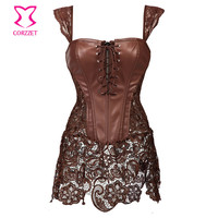 Brown Leather Steampunk Corset Dress
