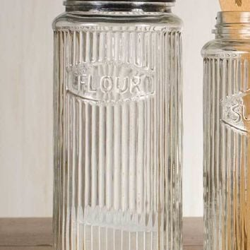 Tall Hoosier Flour Glass Ribbed Jar with Black Lid