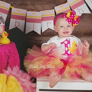 Rubber Ducky Themed Birthday Tutu Outfit, Rubber Ducky Tutu Set, First Birthday Rubber Ducky Party