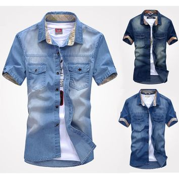 New Mens Jeans Casual Slim Fit Button Down Pockets Washed Vintage Denim Shirts