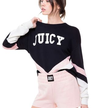 Juicy Logo Colorblock Pullover Sweater