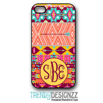 Personalized iPhone case, Aztec, Tribal Pattern Case, Monogram case, iPhone 4 case, iPhone 5 case, Personalized Cover, iPhone cover (1198)