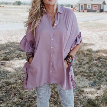Lolita Ruffle Button Up Blouse - Mauve