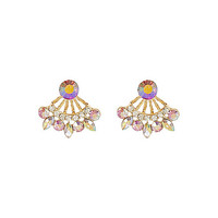 River Island Womens Pink gem front and back earrings