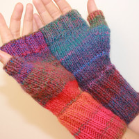 Fingerless Mittens with Thumb Handknit by knittyknittybangbang