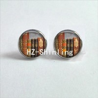 NES-0020 Glass Cabochon Stud Earring Vintage Books Stud Earrings Books Jewelry Time to Read Ear Studs Women