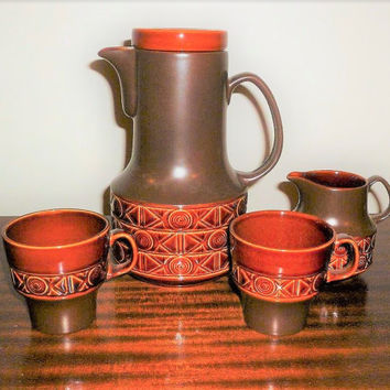 Vintage 1970s Beswick of England Brown Stoneware Teapot Design 2211 With Matching Creamer Milk Jug and Two Mugs / Retro ceramic Tea Set