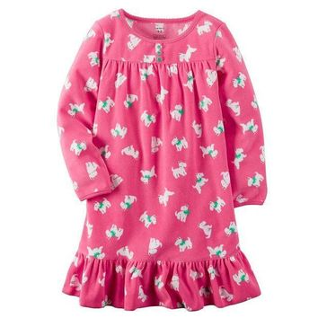 ESB7GX Carter's Patterned Ruffled Nightgown - Girls 4-15 Size
