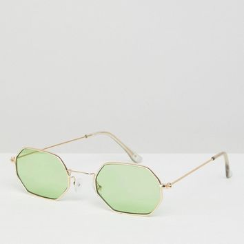 ASOS 90s Angular Hexagon Fashion Sunglasses In Green Coloured Lens at asos.com