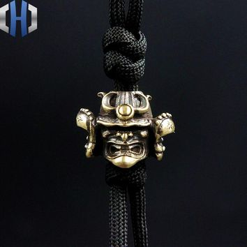 Paracord Beads Brass Warrior Pendant Pure Copper Vintage Japan Helmet DIY Decoration Small Tools Knife Beads