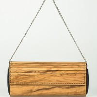 Embawo Chained Wood & Leather Clutch - Eco Handbags & Wallets, Handcrafted in Italy by Embawo - Modnique.com