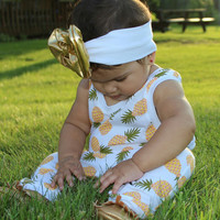 Tropical Colada - Pineapple Romper for Baby Girl Outfit