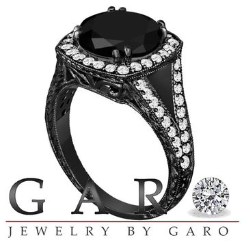 Fancy Black & White Diamond Engagement Ring Antique Vintage Style 14k Black Gold Hand Engraved 4.02 Carat Handmade Unique