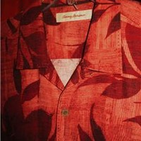 TOMMY BAHAMA HAWAIIAN SHIRT TROPICAL RED FLOWERS  CASUAL!SIZE L !100%SILK! !