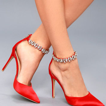 Lizbeth Red Satin Rhinestone Ankle Strap Heels
