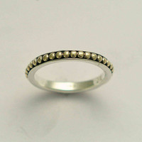 Thin simple sterling silver and dotted gold band by artisanlook