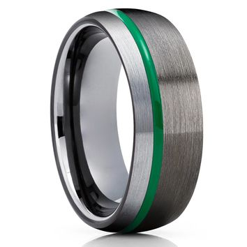 Black Tungsten Wedding Band - Green Tungsten Ring - Anniversary Ring - Gunmetal Ring