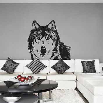kik628 Wall Decal Sticker Room Decor Wall Art Mural wolf animal predator forest leader alpha male Living room bedroom teenager