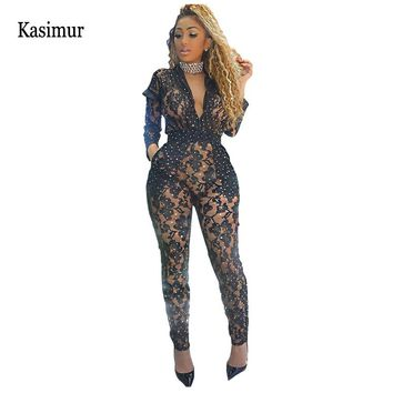 Kasimur Women Sexy Hollow Out Sequined Jumpsuit Womens Fashion Nightclub Zipper Turn Down Collar Slim Jumpsuits Stretch Overalls