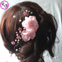 Kanzashi Flower , Beautiful Pink  Flower .rose quartz  tone comb , hair accessory