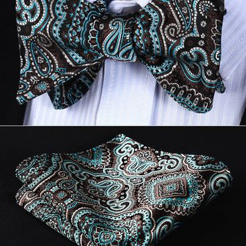 Classic Pocket Square Party BP707QS Aqua Brown Paisley Bowtie Men Silk Self Bow Tie handkerchief set Wedding