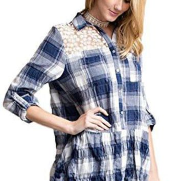 Easel Women's Gauzy Plaid Button Down Shirt