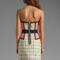 MILLY Catalan Paper-Finish Tweed Sweetheart Dress in Multi from REVOLVEclothing.com