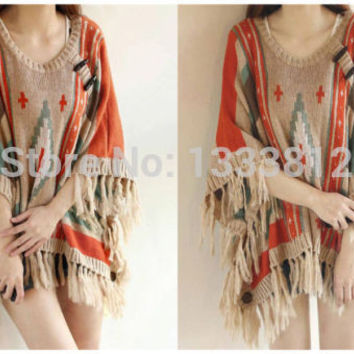 Hot Sale Women's Aztec Native Tribal Hippie loose Fringed hem boho Sweater/Poncho Shawl Cape Coat Outwear Free Shipping