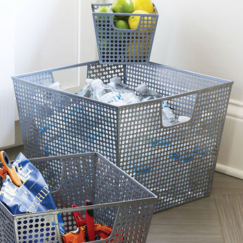 Silver Hole Punch Storage Basket - Extra Large