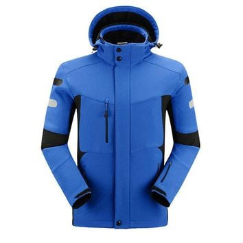 Plus Size Outdoor Sports Soft Shell Water Repellent Detachable Hood Jackets for Men
