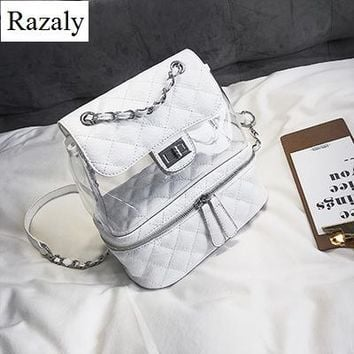Clear Backpacks popular Razaly brand good quality backpack summer beach clear pvc transparent silver bag book travel pink bucket school leather 2018 new AT_62_4
