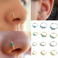 3Pcs/Set Fashion Retro Round Beads Nose Ring Nostril Hoop Body Piercing Jewelry #248359