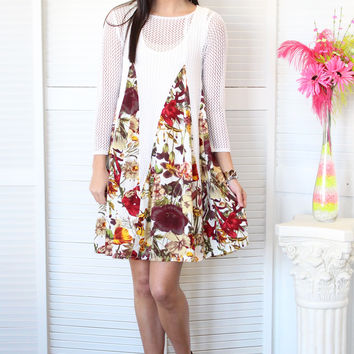 Just Meshin' with Floral Dress {Off White}
