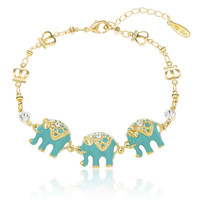 Two Year Warranty Gold Overlay with Teal Elephant Charms Adjustable 7 Inch Ring Link Bracelet with Stones