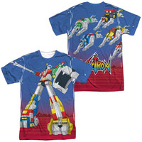VOLTRON/FORM VOLTRON (FRONT/BACK PRINT)-S/S ADULT POLY CREW-WHITE