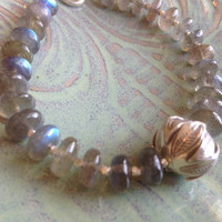 Labradorite and Hill Tribe silver bead bracelet floral focal bead flashy blue stones