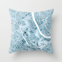 Nashville Tennessee Blueprint City Map Throw Pillow by Anne E. McGraw