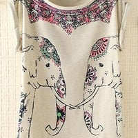 Cute Elephants Print Shirt with Flora Details Gray from topsales