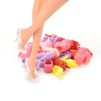 12 Pcs Mix Assorted Doll Shoes Multiple Styles Heel Sandals For Barbies Dolls