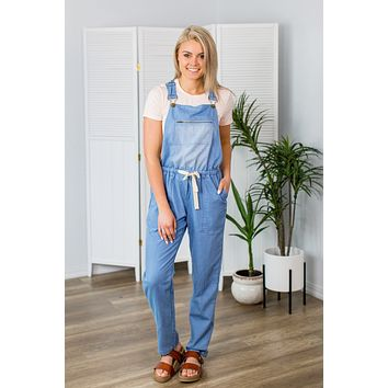 On The Flipside Overalls- Light Denim