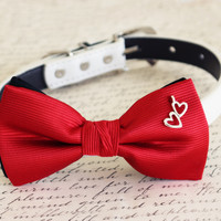 Red Dog Bow tie heart charm, pet wedding Dog collar, Valentines gift, dog lovers