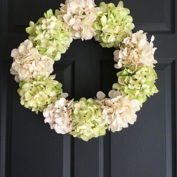 NEW Door Wreath Elegance Collection - Hydrangea Wreath - Lime Green & Cream Colors - Front Door Wreaths - Porch Decor - Housewarming Gift