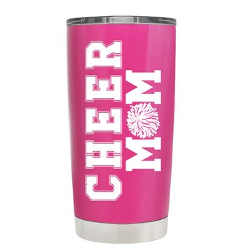 Pom Pom Cheer Mom on Bright Pink 20 oz Tumbler Cup