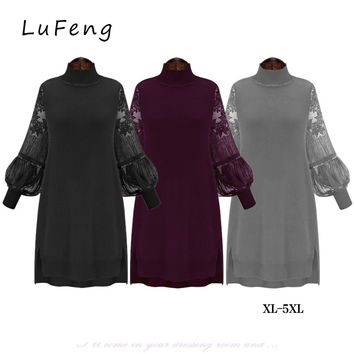 Lace Patchwork Autumn Dress Women Turtleneck Lantern Sleeve Vestido De Festa Plus Size Elbise Elegant Tunic Jurk 20440-823