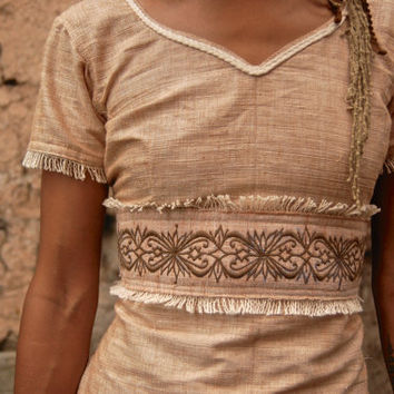 Long Cream Earthy Sari style Top Open BAck Ornament embroidery made of Fair trade HAnd loom cotton