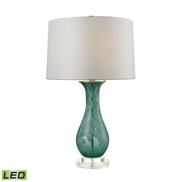 Swirl Glass LED Table Lamp in Aqua