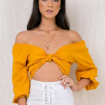 Royalty Route Off The Shoulder Top Mustard