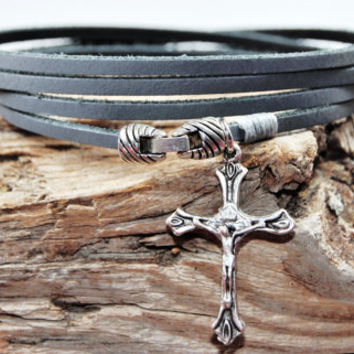 FREE SHIPPING - Men Bracelet, Leather Men Bracelet, Men's Leather Bracelet, Gray Leather and symbol of the cross