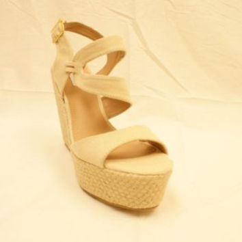 Steve Madden Jenny Natural Beige CanvasWedged Sandals Women's 10M NIB