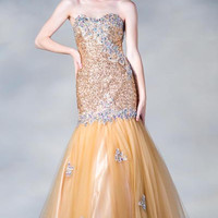 PRIMA C137678 Gold Sequin Mermaid Prom Dress
